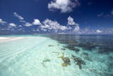 Tropical Lagoon and Coral Reef, Baa Atoll, Maldives, Indian Ocean, Asia Photographic Print by Sakis Papadopoulos