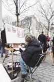 Painter at the Art Market at Place Du Tertre, Montmartre, Paris, Ile De France, France, Europe Photographic Print by Markus Lange
