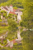 Old Houses of the Village of Noyers Sur Serein Reflecting in the River Serein Photographic Print by Julian Elliott