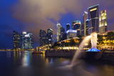 Merlion and Marina Bay Downtown Buildings, Singapore, Southeast Asia, Asia Photographic Print by Christian Kober