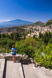 Tourist Admiring the View of Mount Etna from Teatro Greco (Greek Theatre) Photographic Print by Matthew Williams-Ellis