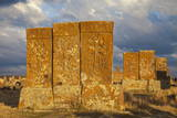 Khachkars at Noratus Cemetery, Lake Seven, Armenia, Central Asia, Asia Photographic Print by Jane Sweeney