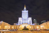 Palace of Culture and Science at Night, Warsaw, Poland, Europe Photographic Print by Christian Kober