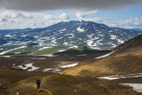 Tourists Hiking to the Smoking Gorely Volcano, Kamchatka, Russia, Eurasia Photographic Print by Michael Runkel