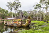 Ornate Tourist Boats Near the South Gate at Angkor Thom Photographic Print by Michael Nolan