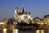 Notre Dame Cathedral and River Seine at Night, Paris, Ile De France, France, Europe Photographic Print by Markus Lange