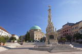 Mosque Church and Trinity Column in Szechenyi Square, Pecs, Southern Transdanubia, Hungary, Europe Photographic Print by Ian Trower