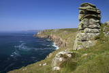 Looking to Sennen Cove from Lands End, Summer Sunshine, Cornwall, England, United Kingdom, Europe Photographic Print by Peter Barritt
