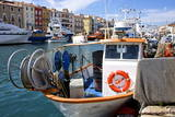 Fishing Boat and Fishing Nets, Bouzigues, Thau Basin, Herault, Languedoc, France, Europe Stampa fotografica di Guy Thouvenin