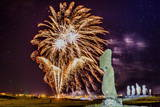 Fireworks Ring in the New Year from the Town of Hanga Roa over Moai Photographic Print by Michael Nolan