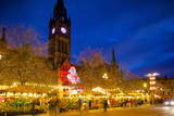 Christmas Market and Town Hall, Albert Square, Manchester, England, United Kingdom, Europe Photographic Print by Frank Fell