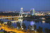 View of New Bridge over the River Danube at Dusk, Bratislava, Slovakia, Europe Photographic Print by Ian Trower