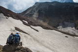Couple Admiring the Mutnovsky Volcano, Kamchatka, Russia, Eurasia Photographic Print by Michael Runkel