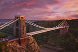 Clifton Suspension Bridge at Sunset, Clifton Downs, Bristol, England, United Kingdom, Europe Fotodruck von Neale Clark