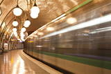 A Paris Metro Train Leaves Cite Station, Paris, France, Europe Photographic Print by Julian Elliott