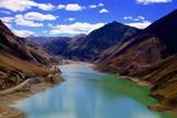 Mountain Range and Artificial Lake (Reservoir) Near the Karo-La Pass Photographic Print by Simon Montgomery