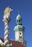 Firewatch Tower and Trinity Column in Main Square, Sopron, Western Transdanubia, Hungary, Europe Photographic Print by Ian Trower