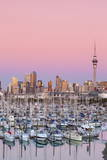 Westhaven Marina and City Skyline Illuminated at Dusk Photographic Print by Douglas Pearson