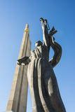 Hero Statue on the Hero City Obelisk, Pieramohi Park, Minsk, Belarus, Europe Photographic Print by Michael Runkel