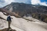 Man Admiring, Mutnovsky Volcano, Kamchatka, Russia, Eurasia Photographic Print by Michael Runkel