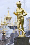 Golden Statue of Hermes (Mercury) Photographic Print by Peter Barritt