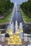 Peterhof Fountains of the Grand Cascade and Gardens in Summer Photographic Print by Peter Barritt