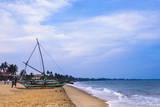 Traditional Outrigger Fishing Boat (Oruva), Negombo Beach, Negombo, Sri Lanka, Asia Lámina fotográfica por Matthew Williams-Ellis