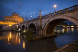 Pont Sant' Angelo and Castel Sant' Angelo at Dusk, Rome, Lazio, Italy, Europe Photographic Print by Ben Pipe