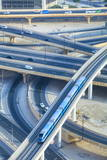 Road Interchange and Metro Train, Dubai, United Arab Emirates, Middle East Photographic Print by Amanda Hall