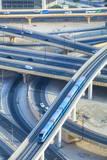Road Interchange and Metro Train, Dubai, United Arab Emirates, Middle East Photographic Print by Amanda Hall
