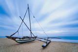 Outrigger Fishing Boat on Negombo Beach at Sunrise, Sri Lanka, Asia Stampa fotografica di Matthew Williams-Ellis