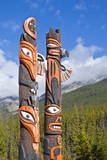 Traditional Canadian Native Totem Poles at Sunwapta Falls Resort Photographic Print by Neale Clark