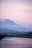 A View of Mount Kinabalu over Menkabong River Photographic Print by James Morgan