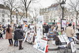 Paintings for Sale in the Place Du Tertre, Montmartre, Paris, Ile De France, France, Europe Photographic Print by Markus Lange
