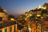 Riomaggiore Rooftops and the Castle at Dusk Photographic Print by Mark Sunderland