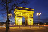 Arc De Triomphe at Dusk, Paris, Ile De France, France, Europe Photographic Print by Markus Lange