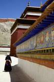 Tibetan Pilgrim Circling the Base of Kumbum Chorten (Stupa) in the Palcho Monastery at Gyantse Photographic Print by Simon Montgomery