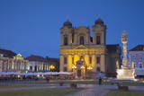 Roman Catholic Cathedral and Trinity Column in Piata Unirii at Dusk Photographic Print by Ian Trower