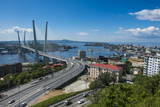 Overlook over Vladivostok and the New Zolotoy Bridge from Eagle's Nest Mount Photographic Print by Michael Runkel