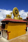 Golden Wheel of Dharma and Deer Sculptures Photographic Print by Simon Montgomery