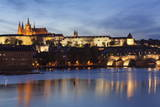 View over the River Vltava to Charles Bridge and the Castle District Photographic Print by Markus Lange