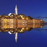 Old Town with Cathedral of St. Euphemia Reflecting in the Water at Night, Istria, Croatia, Europe Photographic Print by Markus Lange