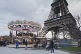 Carousel with Eiffel Tower, Paris, Ile De France, France, Europe Photographic Print by Markus Lange