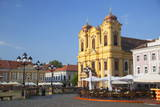 Roman Catholic Cathedral and Outdoor Cafes in Piata Unirii, Timisoara, Banat, Romania, Europe Photographic Print by Ian Trower