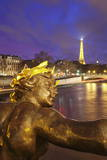 View from Pont Alexandre over River Seine to the Eiffel Tower at Dusk Photographic Print by Markus Lange