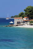 Restaurant at the Beach with Sailing Boat, Bol, Brac Island, Dalmatia, Croatia, Europe Photographic Print by Markus Lange