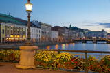 Restaurant on Sodra Hamngatan and Canal at Dusk, Gothenburg, Sweden, Scandinavia, Europe Photographic Print by Frank Fell