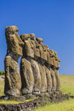 Seven Moai at Ahu Akivi, the First Restored Altar Photographic Print by Michael Nolan