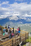 Visitors on a Viewing Platform on Sulphur Mountain Summit Overlooking Banff National Park Photographic Print by Neale Clark