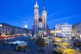St. Mary's Basilica Illuminated at Twilight, Rynek Glowny (Old Town Square), Krakow, Poland, Europe Photographic Print by Kim Walker